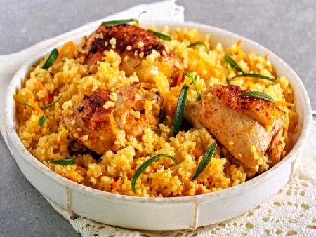 Печено пиле с булгур и пресни подправки - снимка на рецептата